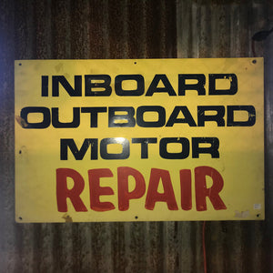 Inboard Outboard Motor Repair Vintage Sign