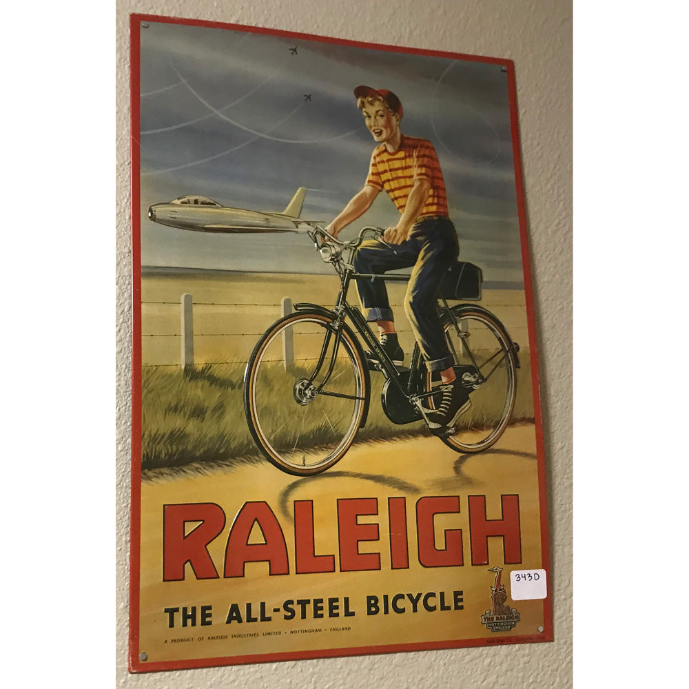 Raleigh All Steel Bicycle Vintage Sign