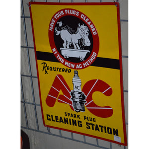 AC Sparkplug Cleaning Station Vintage Sign