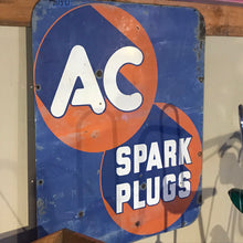 Load image into Gallery viewer, AC Spark Plug Blue and Orange Vintage Sign