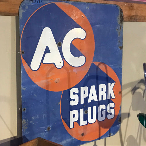 AC Spark Plug Blue and Orange Vintage Sign