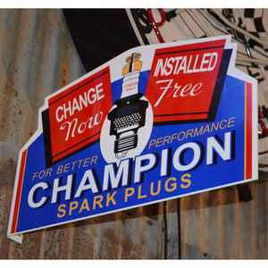Champion Spark Plugs Vintage Flange Sign