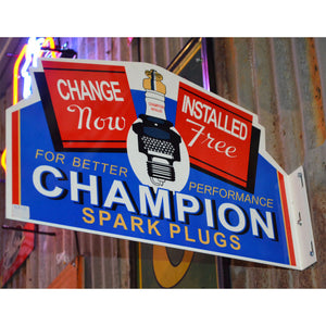 Champion Spark Plugs Vintage Flange Sign 02