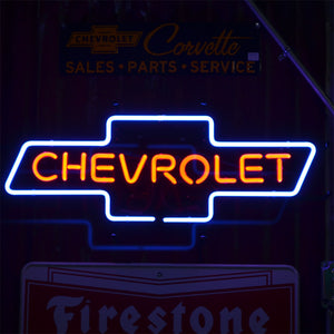 Chevrolet Logo neon sign with Chevrolet inside the logo