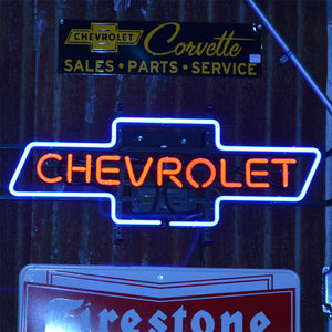 Chevrolet Logo neon sign with Chevrolet inside the logo 02
