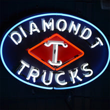 "Load image into Gallery viewer, Diamond T Trucks neon sign with ""T"" inside the diamond"