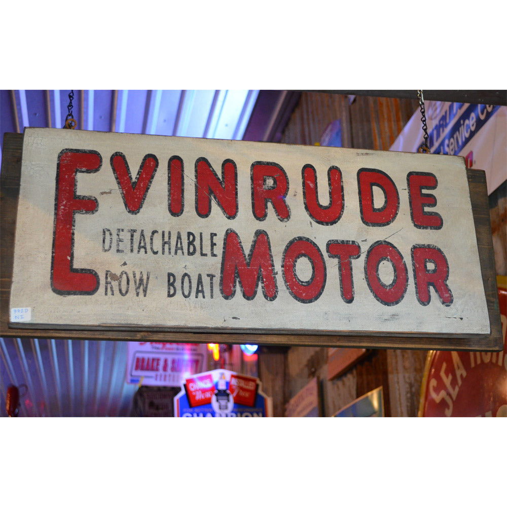 Evinrude Motor Detachable Rowboat Vintage Sign