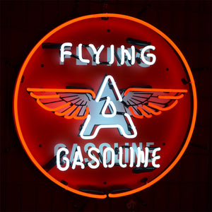 Classic Flying A Gasoline neon sign with winged letter A