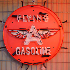 Classic Flying A Gasoline neon sign with winged letter A unlit