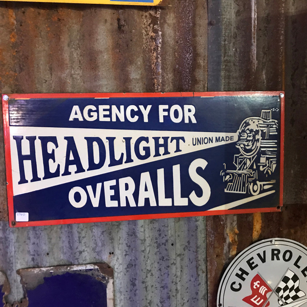 Headlight Overalls Vintage Sign