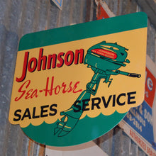Load image into Gallery viewer, Johnson Sea Horse Sales Vintage Flange Sign Side A