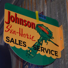 Load image into Gallery viewer, Johnson Sea Horse Sales Vintage Flange Sign Side B