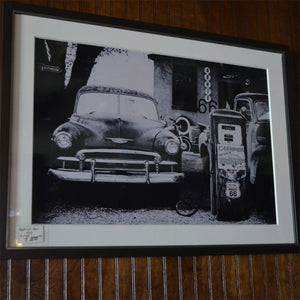 Vintage Chevy at Garage by Route 66 Gas Pump Framed Photo