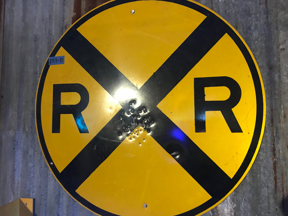 Round Railroad Crossing  Vintage Sign