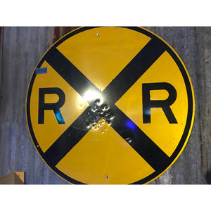 Round Railroad Crossing  Vintage Sign 02