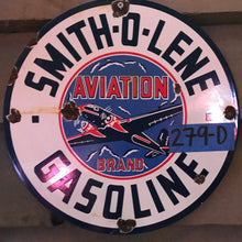 Load image into Gallery viewer, Smith-O-Lene Aviation Gasoline Vintage Sign 02