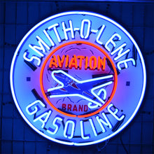 Load image into Gallery viewer, Smith-O-Lene Aviation Gasoline neon sign with Airplane in neon