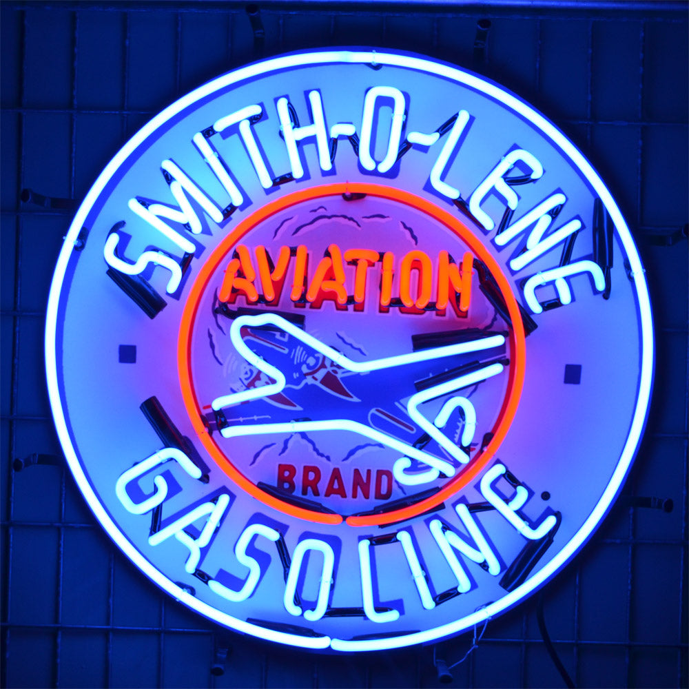 Smith-O-Lene Aviation Gasoline neon sign with Airplane in neon