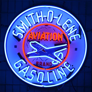 Smith-O-Lene Aviation Gasoline neon sign with Airplane in neon 02