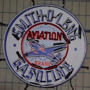 Smith-O-Lene Aviation Gasoline neon sign with Airplane in neon 03