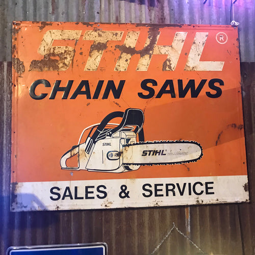 Stihl Chain Saws Sales and Service Vintage Sign