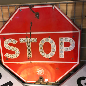 Stop Sign With Cat Eye Reflectors Vintage Sign