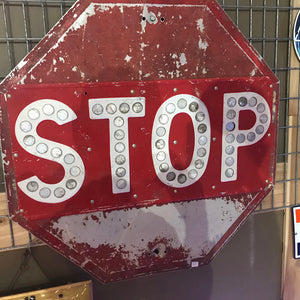 Stop Sign With Cat Eye Reflectors & White Vintage Sign