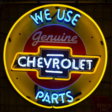 Load image into Gallery viewer, We Use Genuine Chevrolet Parts neon sign with Chevrolet logo