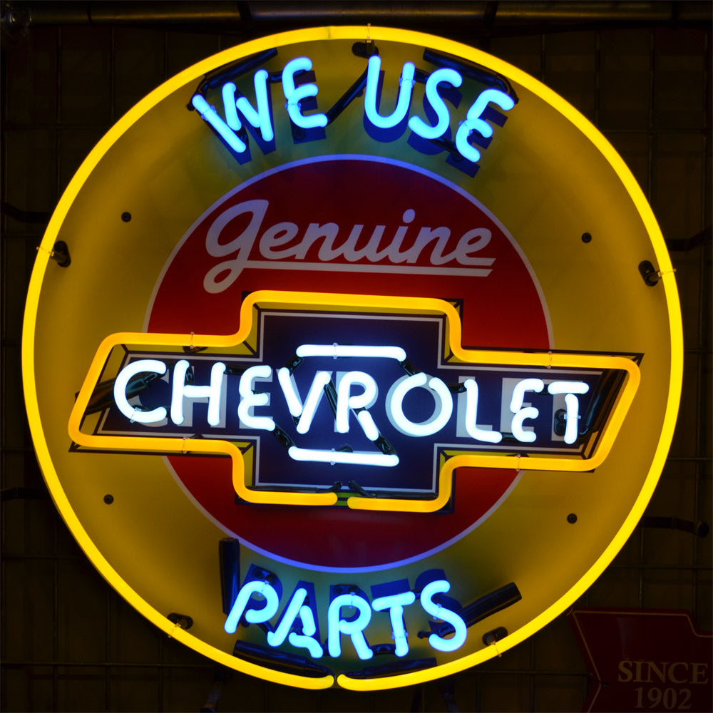 We Use Genuine Chevrolet Parts neon sign with Chevrolet logo