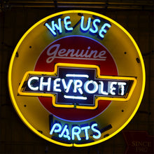 Load image into Gallery viewer, We Use Genuine Chevrolet Parts neon sign with Chevrolet logo 02