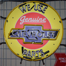 Load image into Gallery viewer, We Use Genuine Chevrolet Parts neon sign with Chevrolet logo unlit