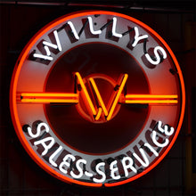 "Load image into Gallery viewer, Willys Brand Sales-Service neon sign showing the ""W"" logo in the center 02"