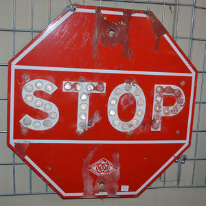 Stop Sign with CatEye Reflectors 186D