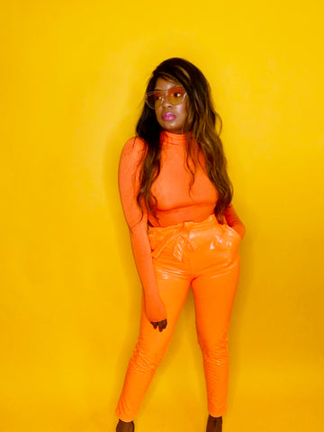 Emprinted II | Orange Latex Pants