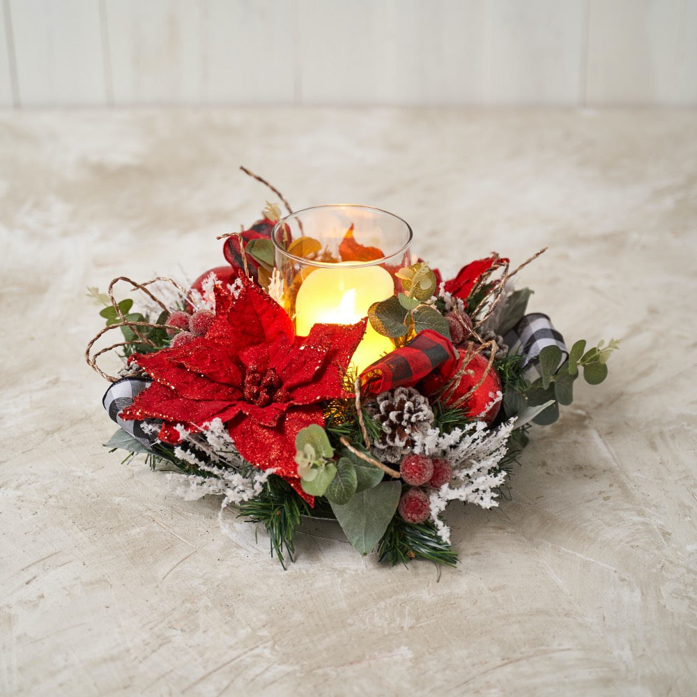 Red Poinsettia Hurricane Candle holder with Red and White Buffalo Check Ribbon
