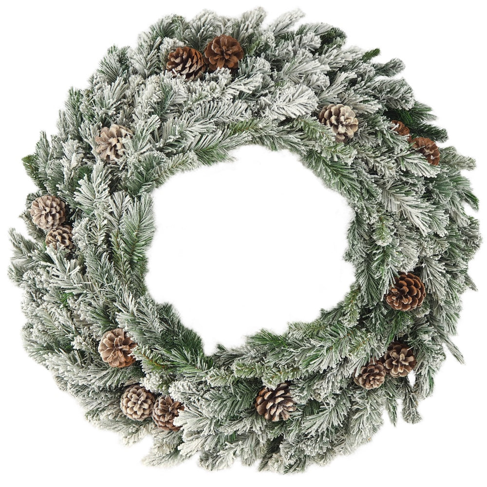 "Flocked Mixed Pine Wreath (30"")"