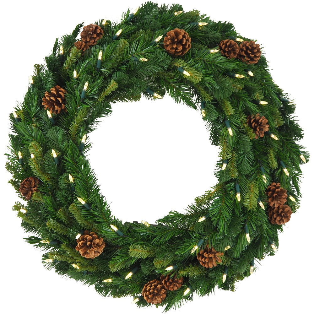 Mixed Pine Wreath Prelit Clear LED Lights