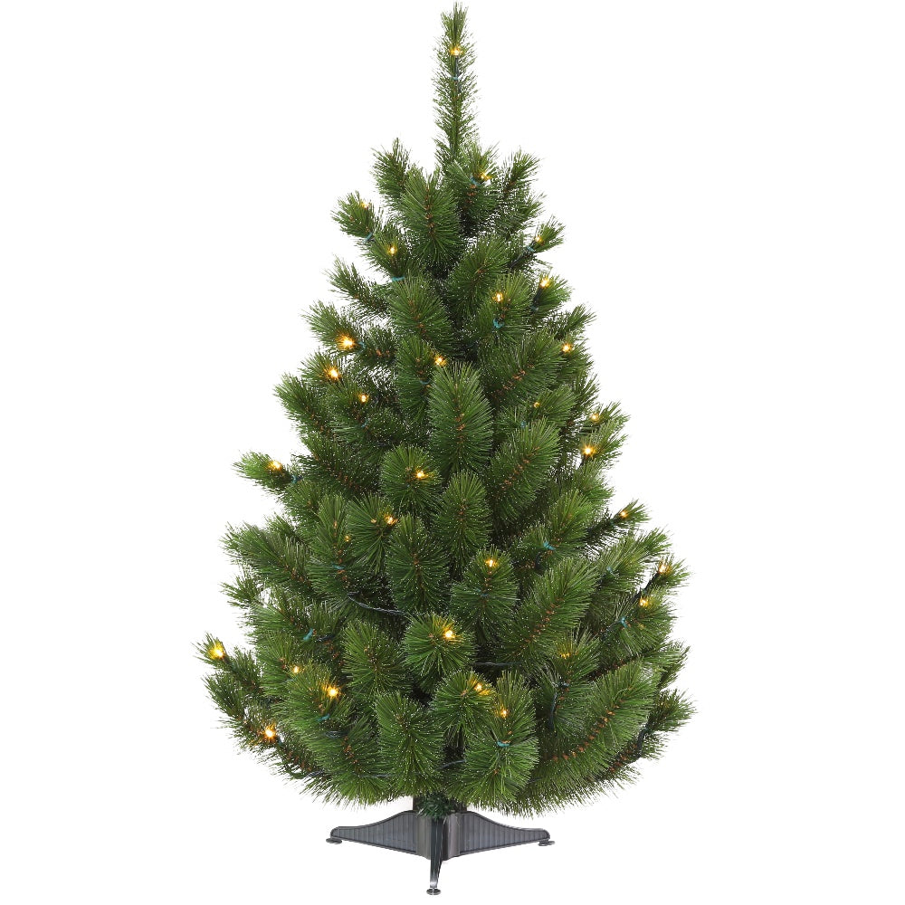 Siberian Spruce Tabletop Tree LED -Artificial Prelit Christmas Tree with Clear + Color LED Light & Stand- Hard Needle PVC Plastic For Full Appearance