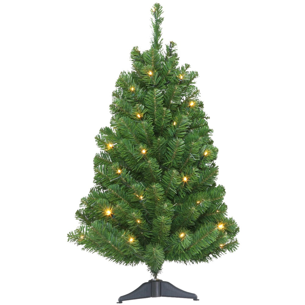 Tabletop Tree LED -Artificial Prelit Christmas Tree with Clear + Color LED Light & Stand- Soft PVC Plastic For Full Appearance