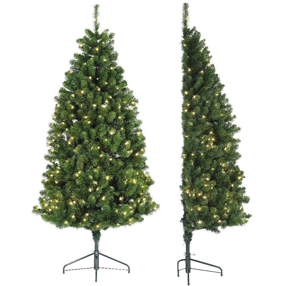 Half Tree LED (7') Artificial Prelit Christmas Tree with LED Light & Stand - Soft PVC Plastic For Full Appearance - Pre lit Lights On Every Branch