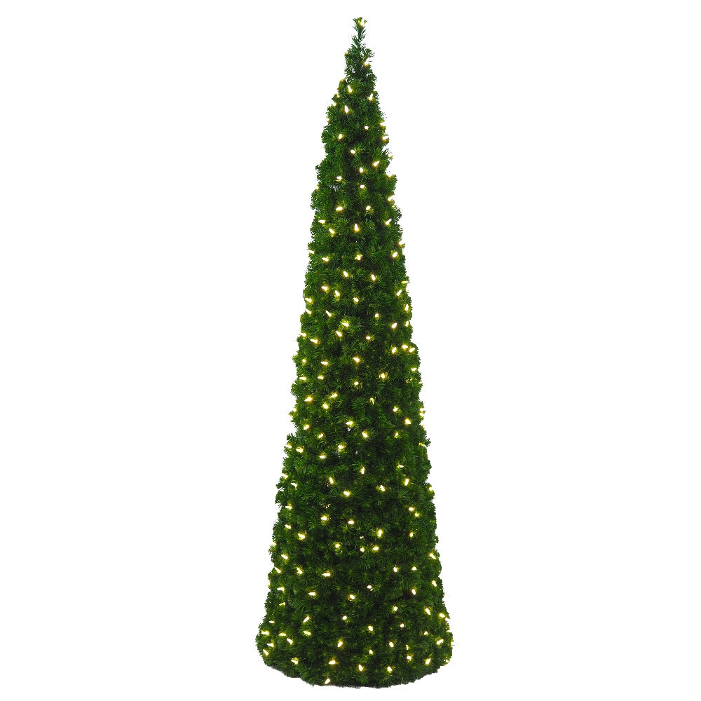 Cone Tree Clear LED (7') Soft PVC - Prelit Artificial Christmas Tree - Slim and 7 ft Tall