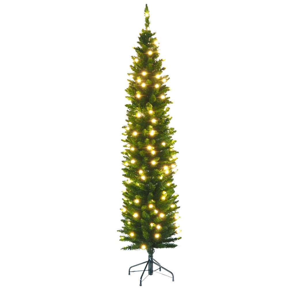 Artificial Prelit Christmas Pencil Tree with LED Light & Stand - Faux Evergreen - Soft PVC Plastic For Full Appearance - Pre lit Lights