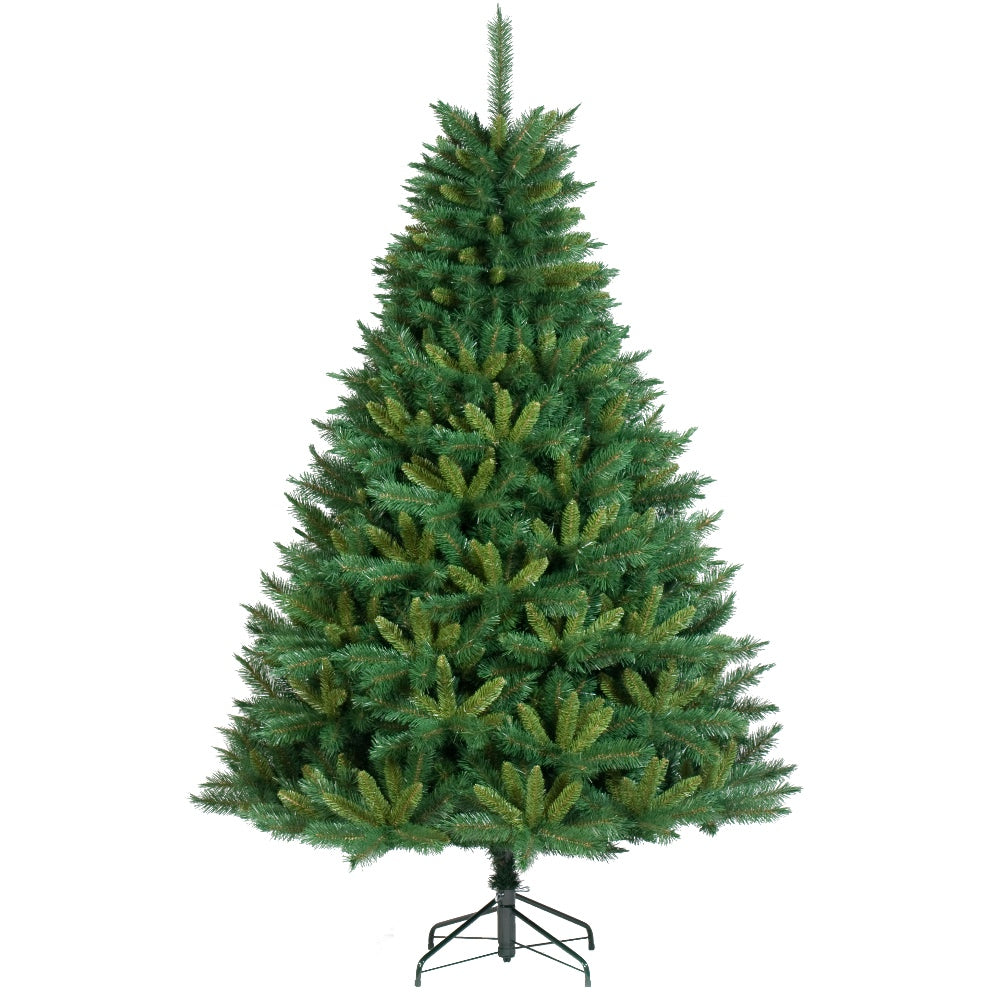 Black Forest, Unlit (7.5') Artificial Christmas Tree With Metal Stand - Soft PVC Plastic For Full Appearance - Classic - 7.5 ft - Hook On Branches