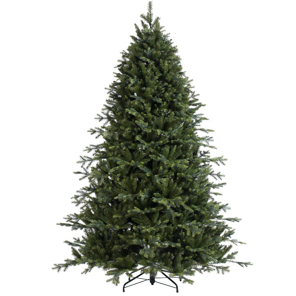 Cascade Fir (7.5') Artificial Christmas Tree With Metal Stand - PE + Hard Needle + PVC Plastic For Full Appearance - Realistic - 7.5 ft - Hook On Branches