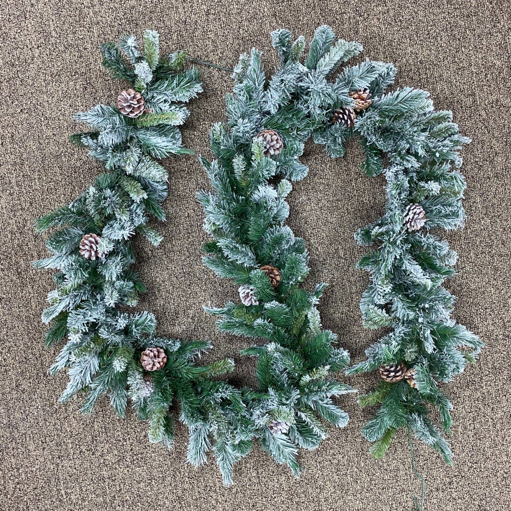 "Flocked Mixed Pine Garland (9' x 10"")"
