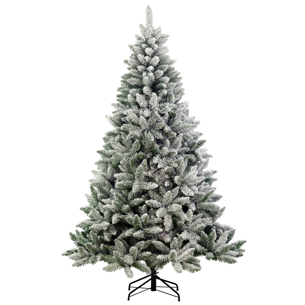 Flocked Fraser Fir, Unlit (7.5') Artificial Christmas Tree With Metal Stand - Soft PVC Plastic For Full Appearance - Classic - 7.5 ft - Hinged Branches