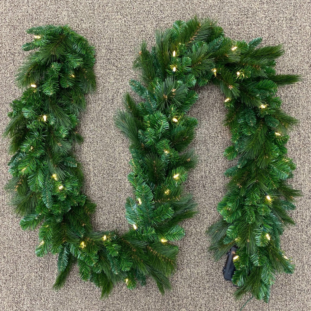 "Grandville Garland (9' x 12"") Pre-lit LED Clear Lights Battery Operated"