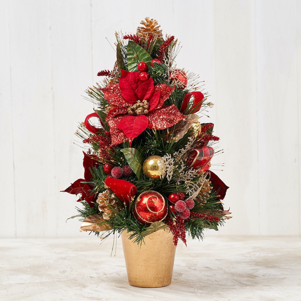 "22"" Red Poinsettia Cone Tree w/ Pot"