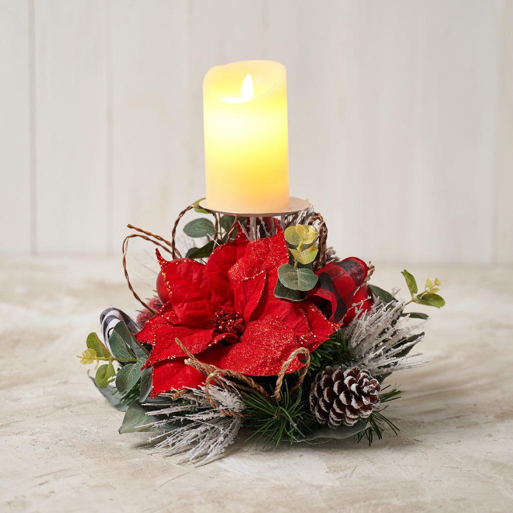 Red Poinsettia Single Spike Candle Holder with Red/ White Buffalo Check Ribbon