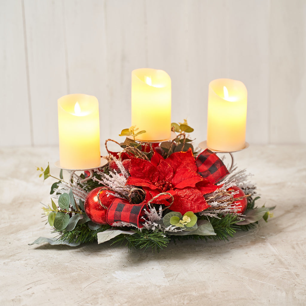 Red Poinsettia Triple Candle Holder with Red/ White Buffalo Check Ribbon